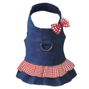 Blue Harness Dress with D-Ring and Red Gingham Hair Bow