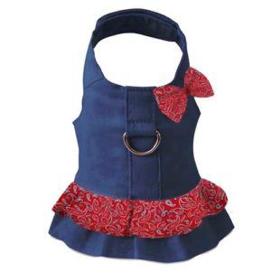 Blue Harness Dress with D-Ring and Red Bandana Hair Bow