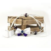 Biewer Terrier Show Bow Set 6 in White & Purple