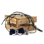 Biewer Terrier Show Bow Set 7 in Black & Purple