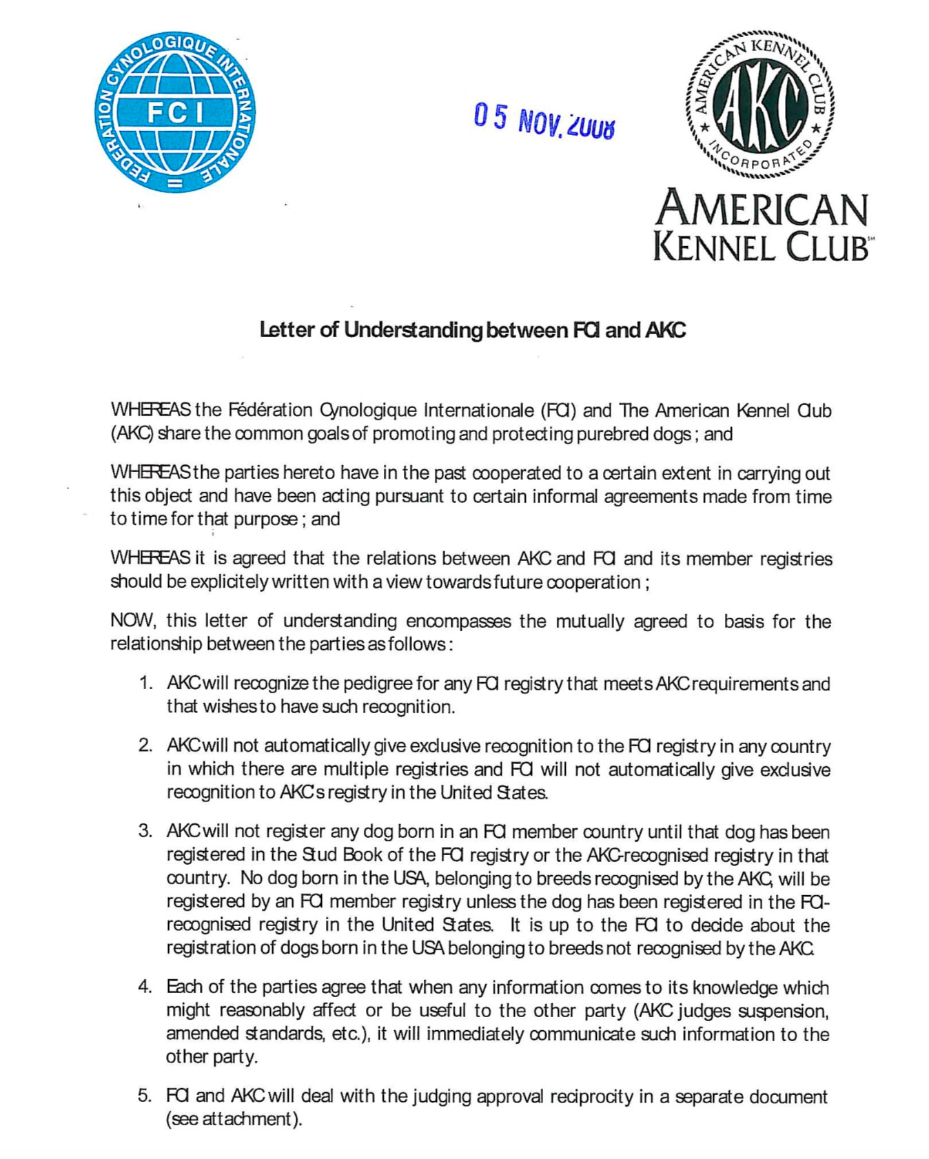 Letter of Understanding between FCI and AKC