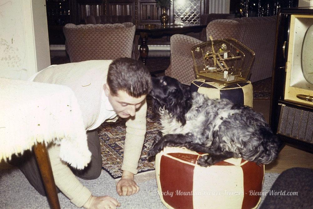 Werner Biewers playing with the dog at the apartment in Cologne