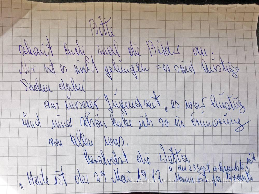 handwritten note from Gertrud Biewer