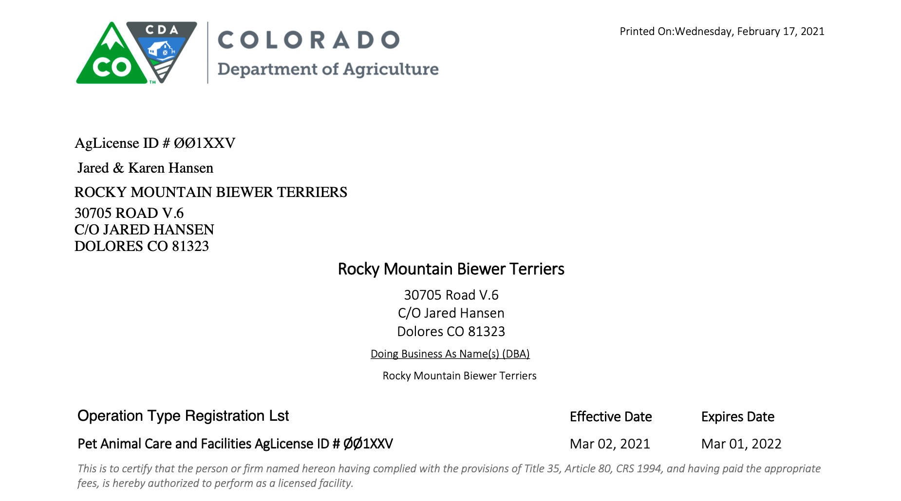 2021 PACFA Colorado License