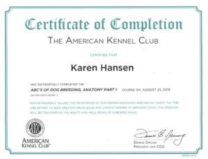 Karen Hansen Biewer Terrier Anatomy Certificate 1