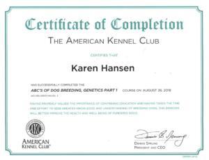 Karen Hansen Biewer Terrier Genetics Certificate 1