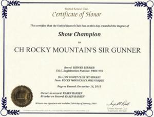 Rocky Mountain's Sir Gunner Champion Title