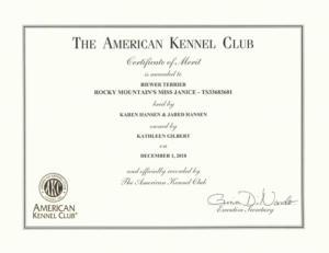 Rocky Mountain's Miss Janice Certificate of Merit