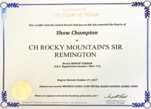 UKC Champion Certificate Rocky Mountains Sir Remington